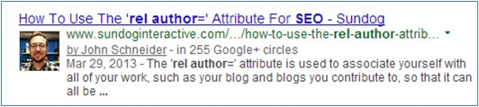 Google Author SERPs Result