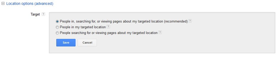Geolocation targeting Adwords