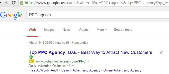 Google.ae Adwords Result