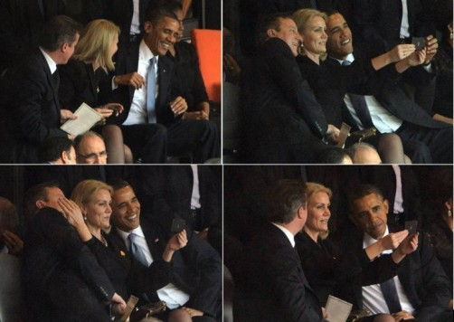 Selfie of Barak Obama,David Cameron and Helle Thorning Schmidt