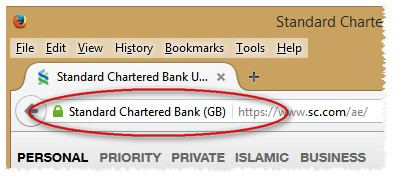 SSL Security on Standard Chartered Bank UAE