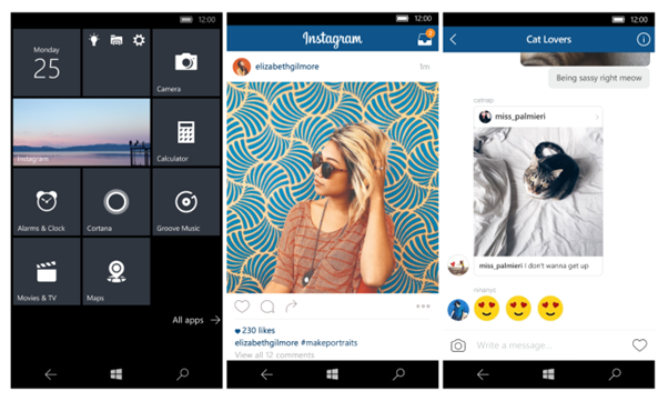 Instagram Features in Windows 10
